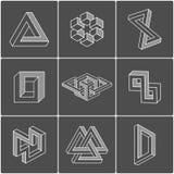 Forme di illusione ottica Elementi di vettore Immagini Stock