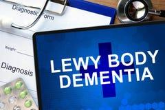 Forme diagnostique avec la démence de corps de Lewy de diagnostic photo stock