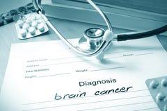 Forme diagnostique avec le cancer du cerveau de diagnostic photo stock