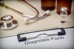 Forme diagnostique dans l'hôpital photographie stock