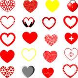 Forme différente de coeurs rouges, jaunes et gris Photographie stock