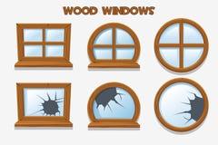 Forme différente et vieilles fenêtres en bois brisées, objets de bâtiment de bande dessinée Intérieurs à la maison d'élément illustration libre de droits