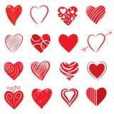 Forme disegnate a mano del cuore Fotografie Stock