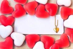 Forme douce de coeur de sucrerie de confiture d'oranges, étiquette vide Image stock