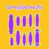 Forme e tipi di Longboard su un fondo colorato Fotografie Stock Libere da Diritti