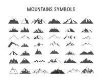Forme ed elementi di vettore della montagna per la creazione le vostre proprie etichette all'aperto, retro toppe della regione se royalty illustrazione gratis