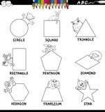 Forme educative fissate con il libro di colore degli animali Immagini Stock