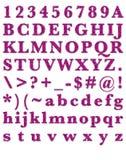 Alfabeto del rosa del brillo de la moda Fotos de archivo libres de regalías