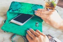 Forme el bolso de lujo del pitón del snakeskin en la tabla de madera en restaurante Isla de Bali Imagenes de archivo