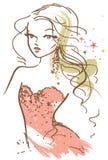Bosquejo bonito de la muchacha stock de ilustración