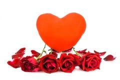 Forme el corazón y las rosas rojas en un fondo blanco Fotos de archivo libres de regalías