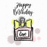 Forme el ejemplo, bosquejo del vector, fondo del perfume de la marca Imagen de archivo