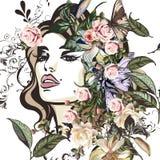 Forme el ejemplo con el retrato hermoso de la mujer joven, floral stock de ilustración
