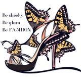 Forme el ejemplo del vector con la sandalia o el zapato femenina elegante d Imagenes de archivo