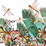Forme el ejemplo del vector con las libélulas, las notas de la música y el interruptor stock de ilustración