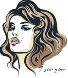 Forme el ejemplo del vector, retrato de la mujer joven con beauti stock de ilustración