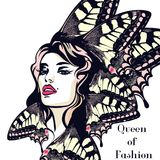 Forme el ejemplo del vector, retrato de la mujer joven de la mariposa libre illustration