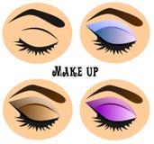 Forme el ejemplo en el tema del maquillaje del ojo Aplicación de la lección libre illustration