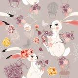 Forme el fondo inconsútil del vector con los conejos o la ha dibujados mano libre illustration