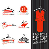 Forme el logotipo de la tienda - diseño del vector de la suspensión de ropa y del vestido de los pernos prisioneros stock de ilustración
