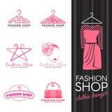 Forme el logotipo de la tienda - vector rosado del logotipo de la cara de la suspensión y de la mujer de ropa diseño determinado libre illustration