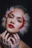 Forme el retrato del primer de una muchacha modelo en la imagen de un cisne con un maquillaje asombroso de la belleza Imágenes de archivo libres de regalías