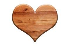 Forme en bois de coeur d'isolement sur le blanc Symbole d'amour Photographie stock