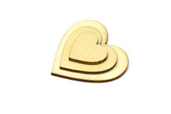 Forme en bois de coeur d'isolement sur le fond blanc Symbole d'amour simple Image libre de droits