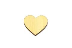 Forme en bois de coeur d'isolement sur le fond blanc Symbole d'amour simple Images libres de droits