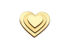 Forme en bois de coeur d'isolement sur le fond blanc Symbole d'amour simple Photographie stock libre de droits
