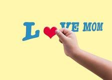 Forme entendue rouge d'isolement de prise de main d'enfant ou d'enfant remplissant à t bleu Image stock