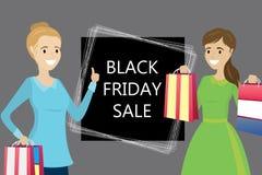 Forme a fêmea caucasiano com sacos de compras, venda preta de sexta-feira, ilustração royalty free