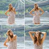 Forme fora a foto da senhora boêmia bonita em dres florais Imagens de Stock Royalty Free