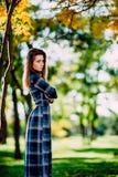 Forme a foto exterior da jovem mulher bonita no vestido azul elegante Retrato da mulher longa lindo do cabelo no posi quadriculad Imagem de Stock