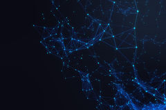 Forme futuriste de connexion technologique, réseau bleu de point, fond abstrait, rendu bleu du fond 3D Images stock