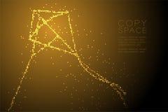 Forme géométrique abstraite de Diamond Kite de modèle de pixel de point de cercle, illustration de couleur d'or de conception de  Image stock
