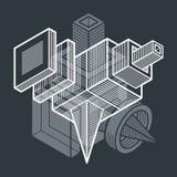Forme géométrique de vecteur abstrait, forme 3D polygonale Images libres de droits