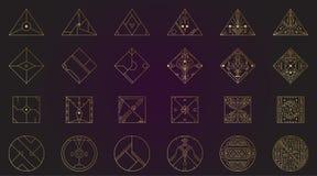 Forme géométrique, ensemble abstrait de cadres d'or de deco de vecteur Ligne à la mode conception de hippie du style 1920 Affiche illustration de vecteur