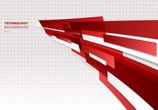 Forme geometriche brillanti rosse e bianche astratte che sovrappongono il fondo futuristico muoventesi di prospettiva di presenta royalty illustrazione gratis