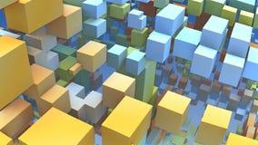 forme geometriche 3D, cubi e rettangoli galleggianti nello spazio Fotografia Stock Libera da Diritti