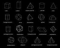 Forme geometriche di base 3d Isolato su priorità bassa nera Vettore Fotografie Stock Libere da Diritti