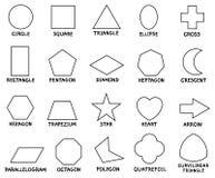 Forme geometriche di base di istruzione con i titoli Immagini Stock