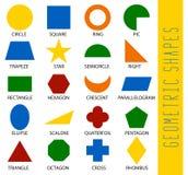 Forme geometriche educative fissate Comprensione del manifesto della geometria per l'insegnamento e l'apprendimento a scuola Fume illustrazione vettoriale