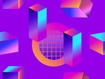 Forme geometriche nello stile isometrico con la pendenza Modello senza cuciture futuristico Retrowave Vettore illustrazione di stock