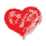 Forme grunge tirée par la main rouge de coeur de Valentine illustration stock