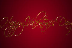 Forme heureuse de mot de Saint Valentin de scintillement d'or d'étincelle sur le fond rouge de gradient, amour de fête de Saint V Photographie stock libre de droits