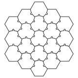 Forme hexagonale de puzzle de vecteur de puzzle de calibre de puzzle denteux un nid d'abeilles Photographie stock