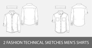 Forme a hombres técnicos de los bosquejos las camisas del ` s con las mangas largas stock de ilustración