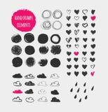 Forme, icone, elementi e cuori disegnati a mano Fotografia Stock Libera da Diritti