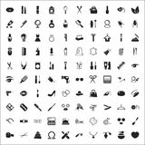 Forme a 100 iconos el sistema universal para el web y el móvil Foto de archivo